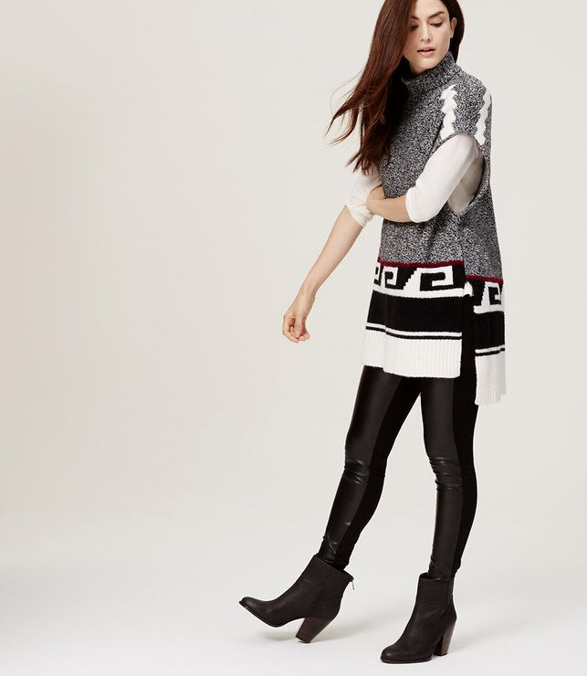 Love this look - not sure about the Greek key on this sweater Primary Image of Geo Blanket Sweater #blanketsweater