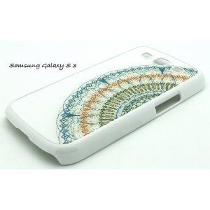 WHITE Samsung Galaxy S3 SIII i9300 Snap On Case Plastic Case CLOSE UP DREAMCATCHER feather S 3 III