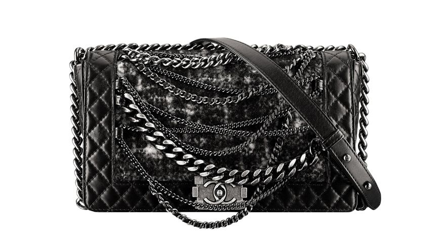 BOY CHANEL bag black quilted leather and tweed bags with chains stars fall  winter 2013 2014 4c03f4ce7d54