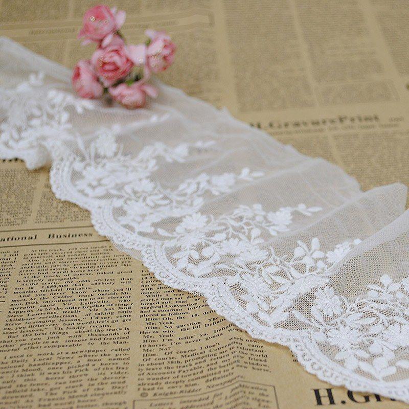 White Flower Lace Trim 14 5cm 5 71 For Handmade Wedding Handmade Wedding Lace Trim Wedding Dresses Lace