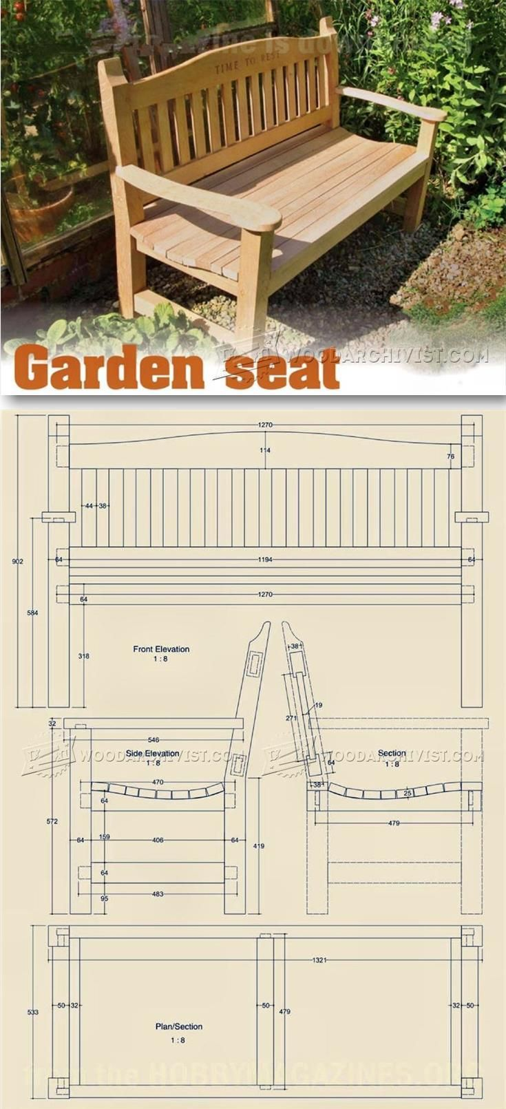 Outdoor furniture plans - Garden Seat Plans Outdoor Furniture Plans And Projects Woodarchivist Com