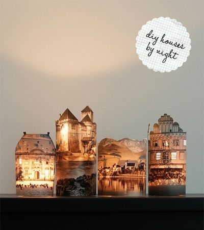A Little Town At Night...cute idea. I could make a Christmas village using photos of family homes and places we visit