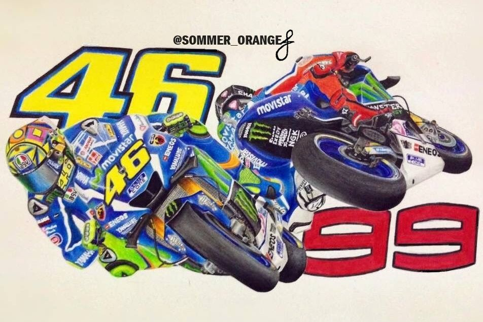 Valentino Rossi Jorge Lorenzo Moto GP Drawing  19c2a8f6c16