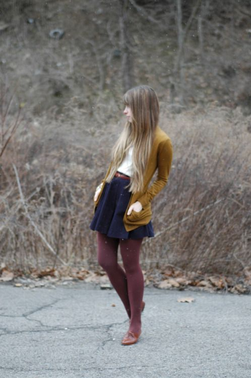 Navy, mustard, and burgundy belted.