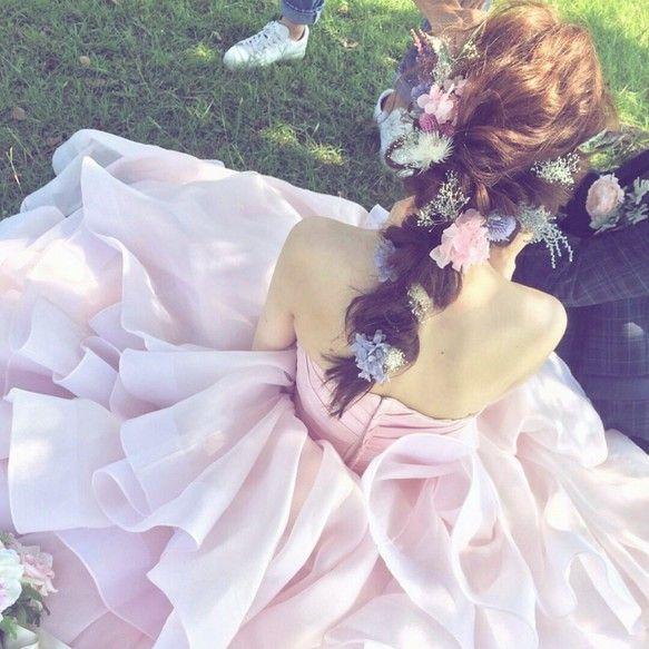 新作♡ピンクパープル**ドライフラワーをつかったヘッドドレス♡