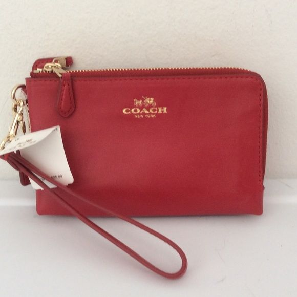 Nwt Coach Smooth Leather Double Zip Classic Red Color Leather