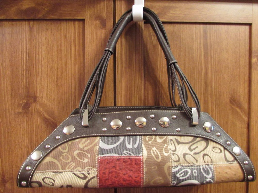 Gg Ing Brown Red Patchwork Baguette Handbag Purse Metal Studs Gging