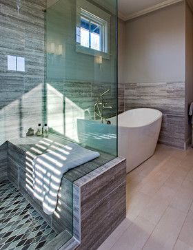modern leaning practical. master bathroom - shower floor