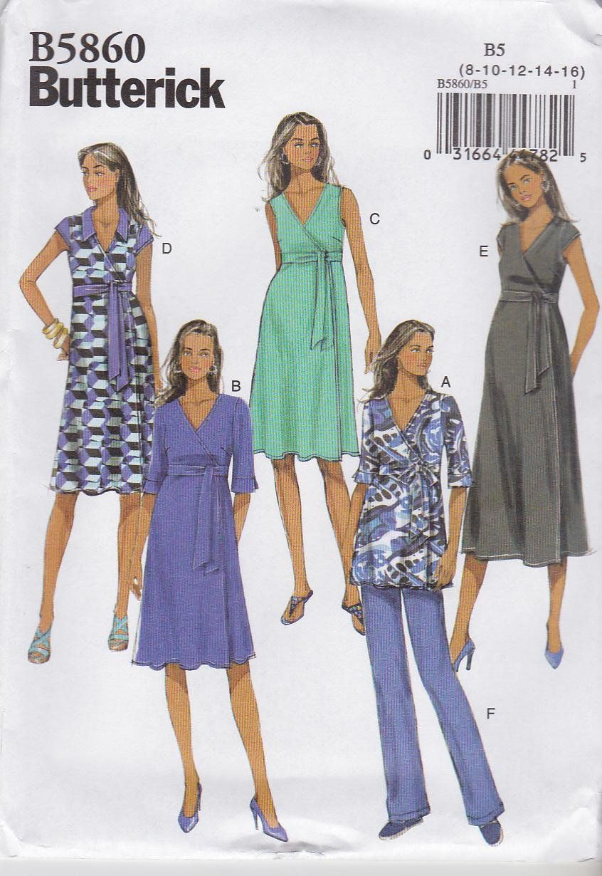 67ec238ebb9 Butterick Sewing Pattern 5860 Misses Size 8-16 Easy Knit Maternity Front  Wrap Dress Tops Pants