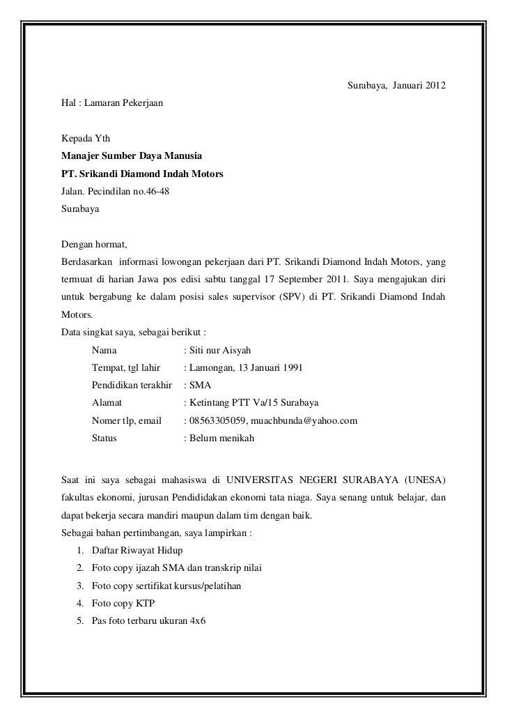 Contoh Surat Lamaran Kerja Supervisor Ben Jobs Words
