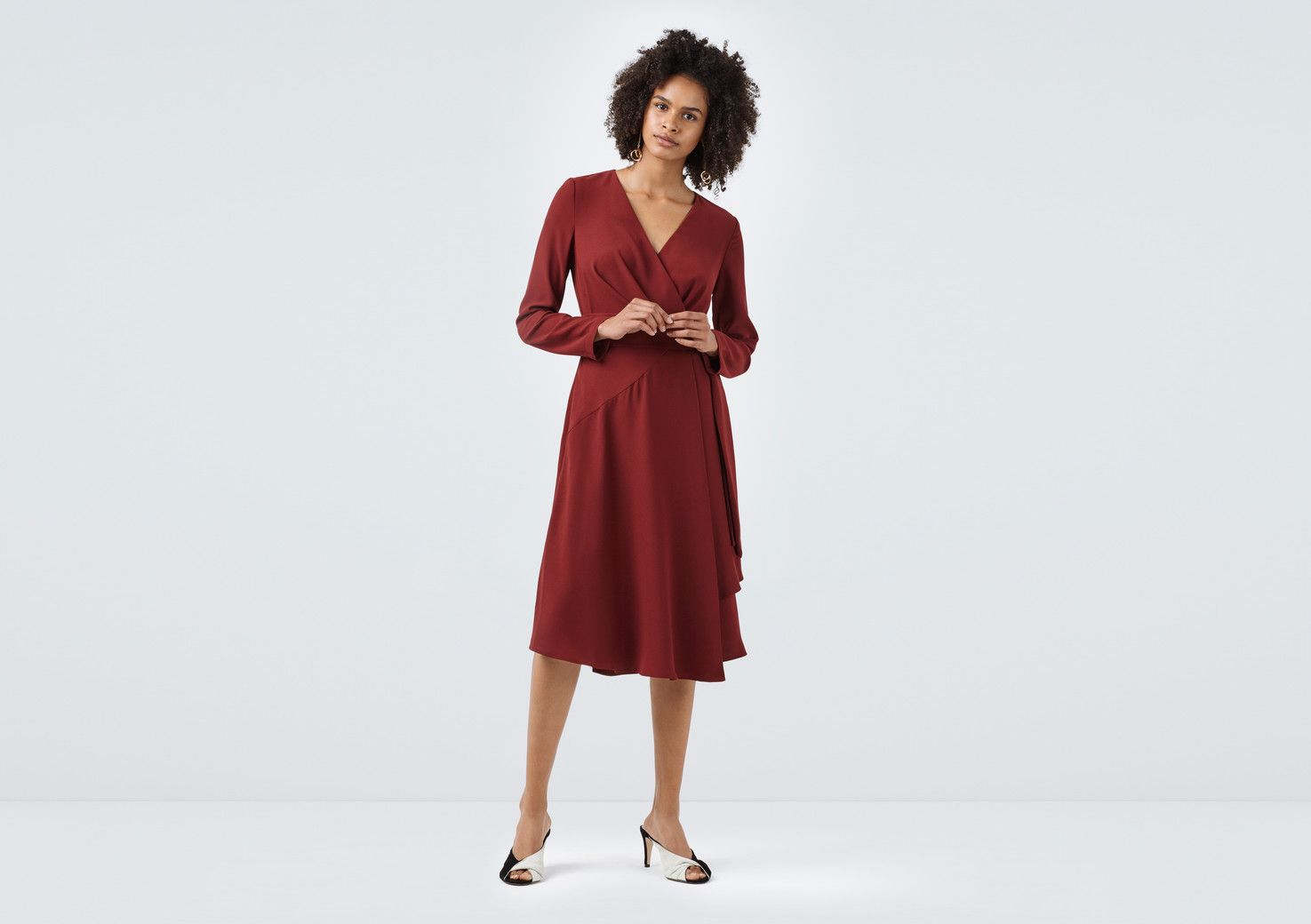 Triangle deep red wrap dress finery london uk clothes