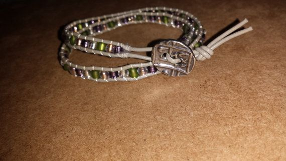 2 wrap Grey leather  green/purple/clear/gold by Projectbabyshuford, $35.00