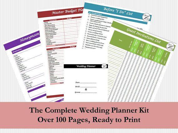 Wedding Planner Instant Download PDF Book, Wedding Binder Organizer