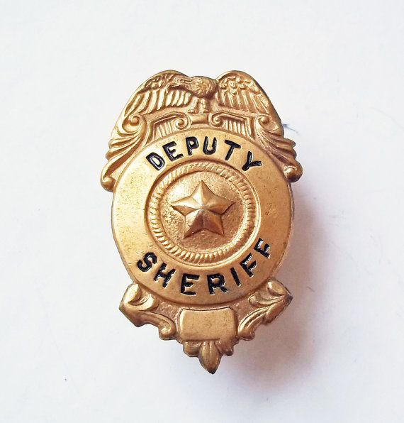 40b625d1426 Vintage Brass Deputy Sheriff Hat Badge w  Eagle