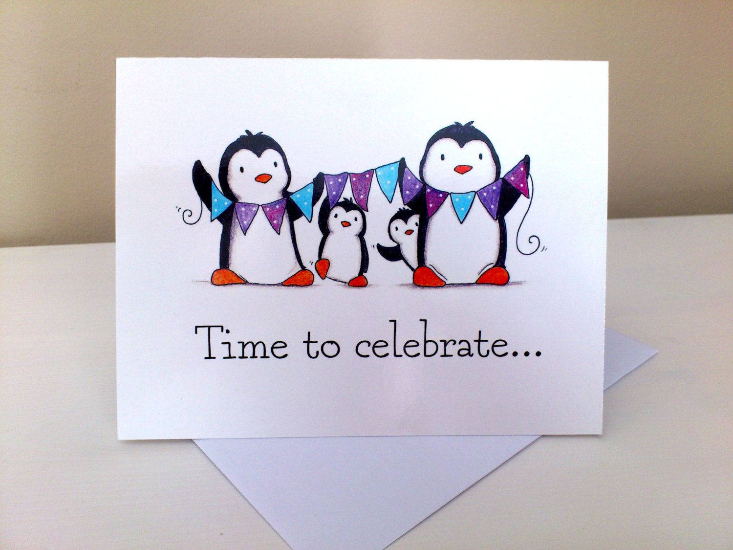 Celebration card penguin card suitable for birthday anniversary