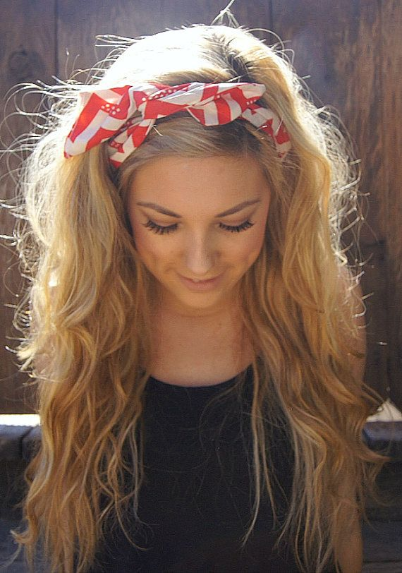 Pin Up Headband Rockabilly Wired Fabric Dolly Bow Chevron