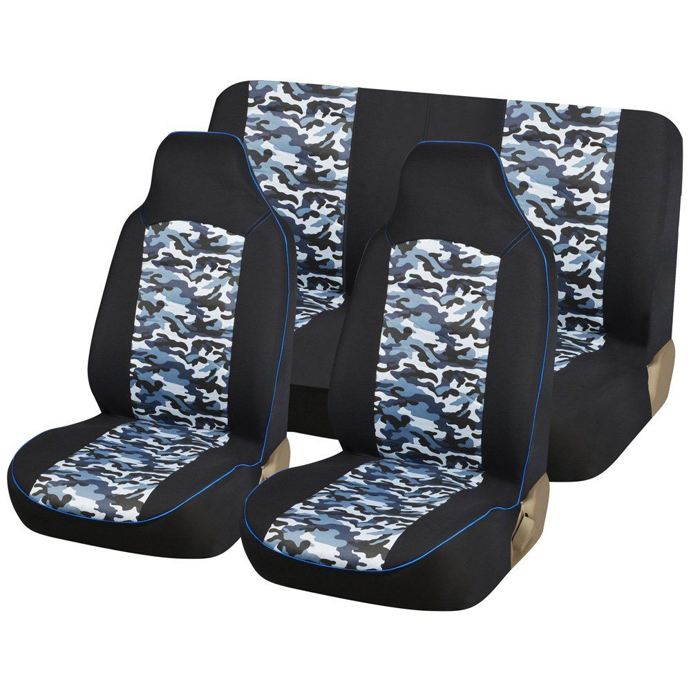 AUTOYOUTH Blue Camo Full Set Truck Seat Covers Universal