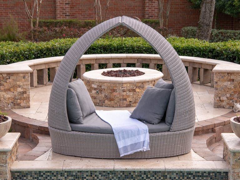 Outdoor Patio Villa Salvaged Oak Aluminum And Outdoor Wicker Cushion Daybed 6949267 Fortunoff Outdoor Wicker Outdoor Outdoor Patio