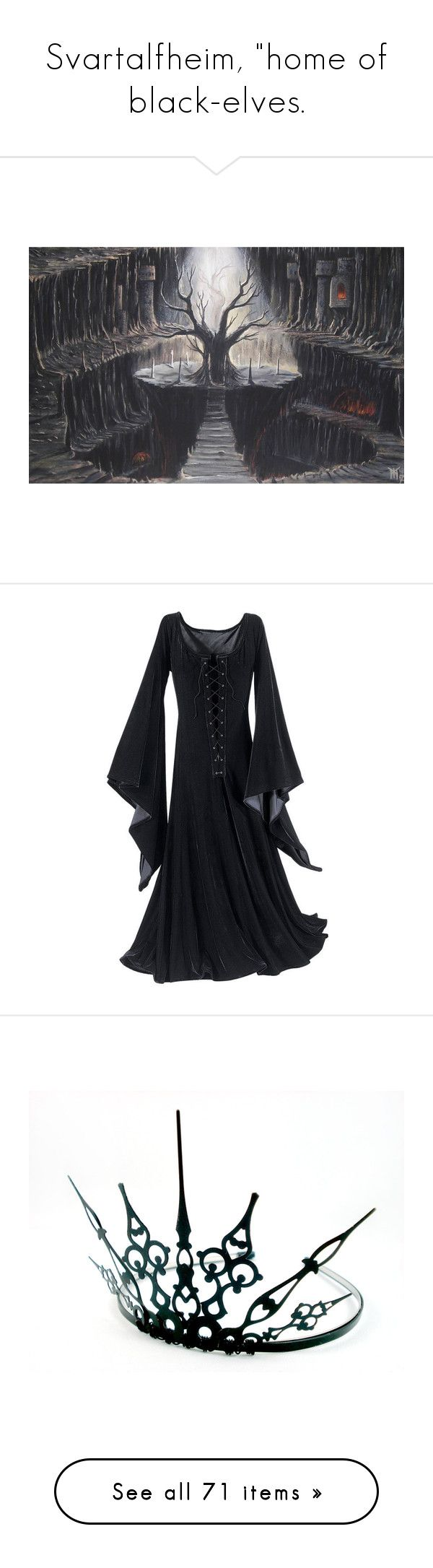 """Svartalfheim, ""home of black-elves."" by lillian-pandola ❤ liked on Polyvore featuring costumes, dresses, gowns, halloween, dark witch costume, witch halloween costume, salem witch costume, witch costume, dark costume and accessories"
