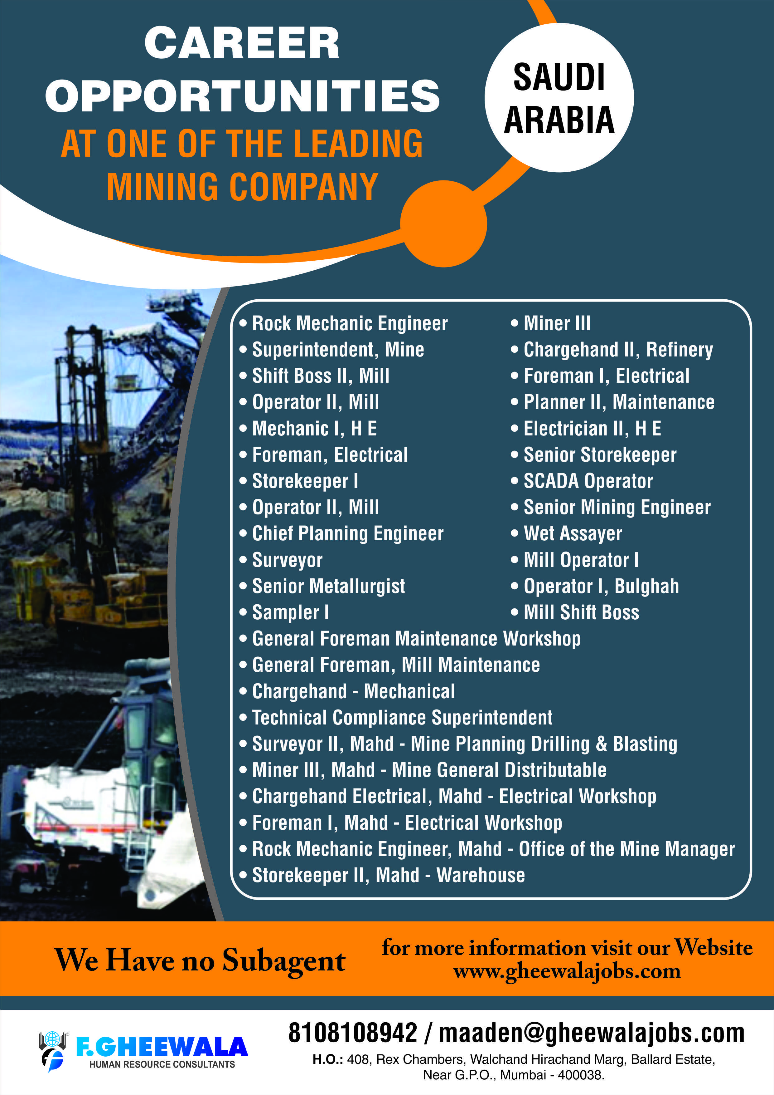 Career Opportunity at one of the Leading Mining Company in