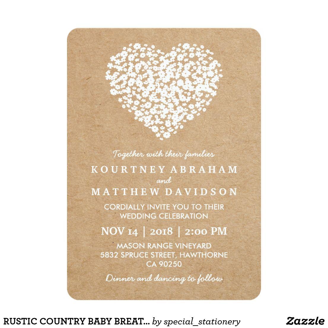 Rustic Country Baby Breath Flowers Wedding Invitation Zazzle Com Wedding Invitations Rustic Country Wedding Invitations Rustic Flower Wedding Invitation