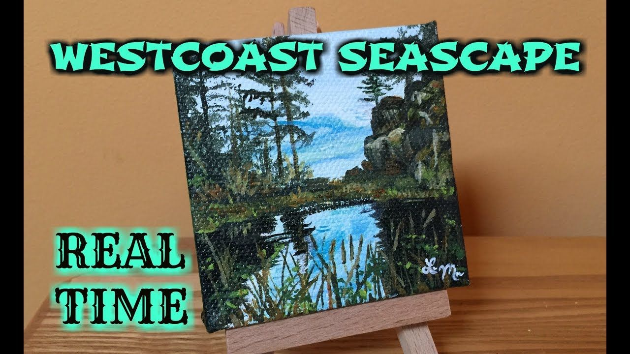 How To Paint A SEASCAPE PAINTING Mini Canvas Painting Ideas