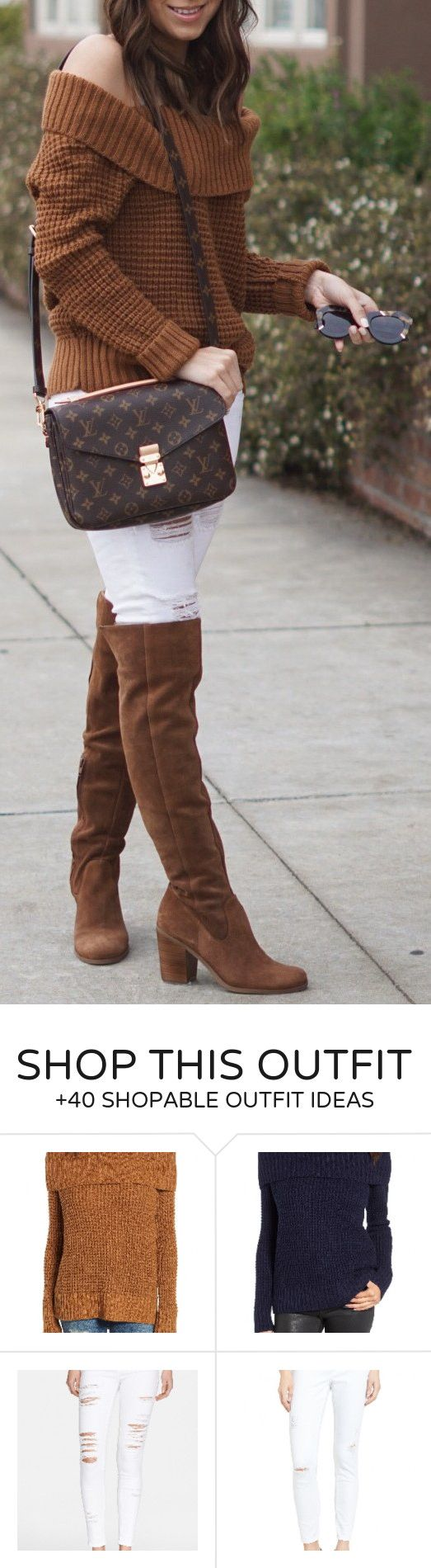 #spring #fashion /  Brown Off Shoulder Knit / White Ripped Denim / Brown OTK Boots