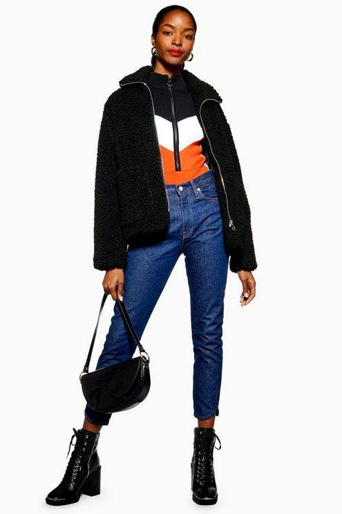 106c15222fd43a Womens Petite Borg Zip Up Jacket - Black Blue Denim Jeans, Topshop Tall,  Faux