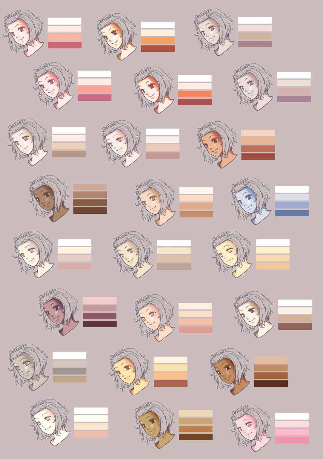 Different Colors For The Large Variety Of Skin Tones This Helps So Much When I M Shading Colorful Drawings Skin Color Palette Skin Drawing