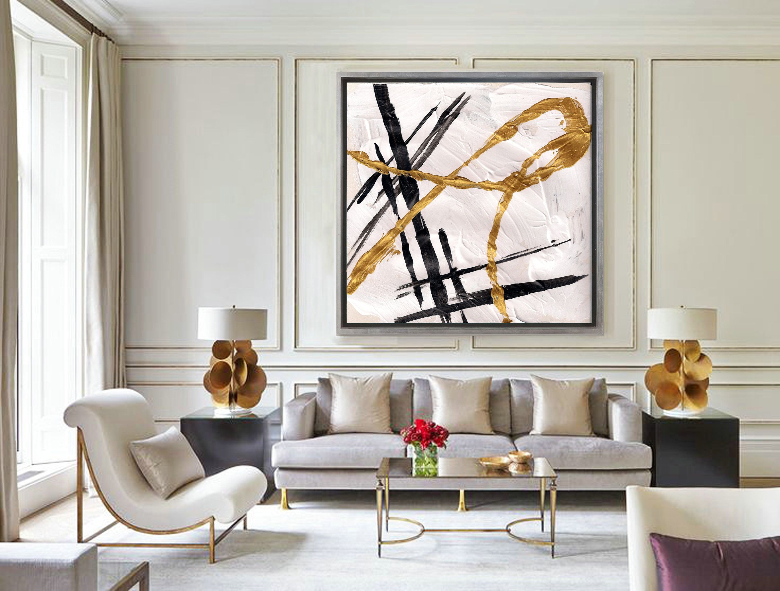 Oversize Minimalism Abstract Art Painting On Canvas Officeroom Art Black White Gold Home Living Room Decor Modern Elegant Living Room Decor Abstract Art Decor