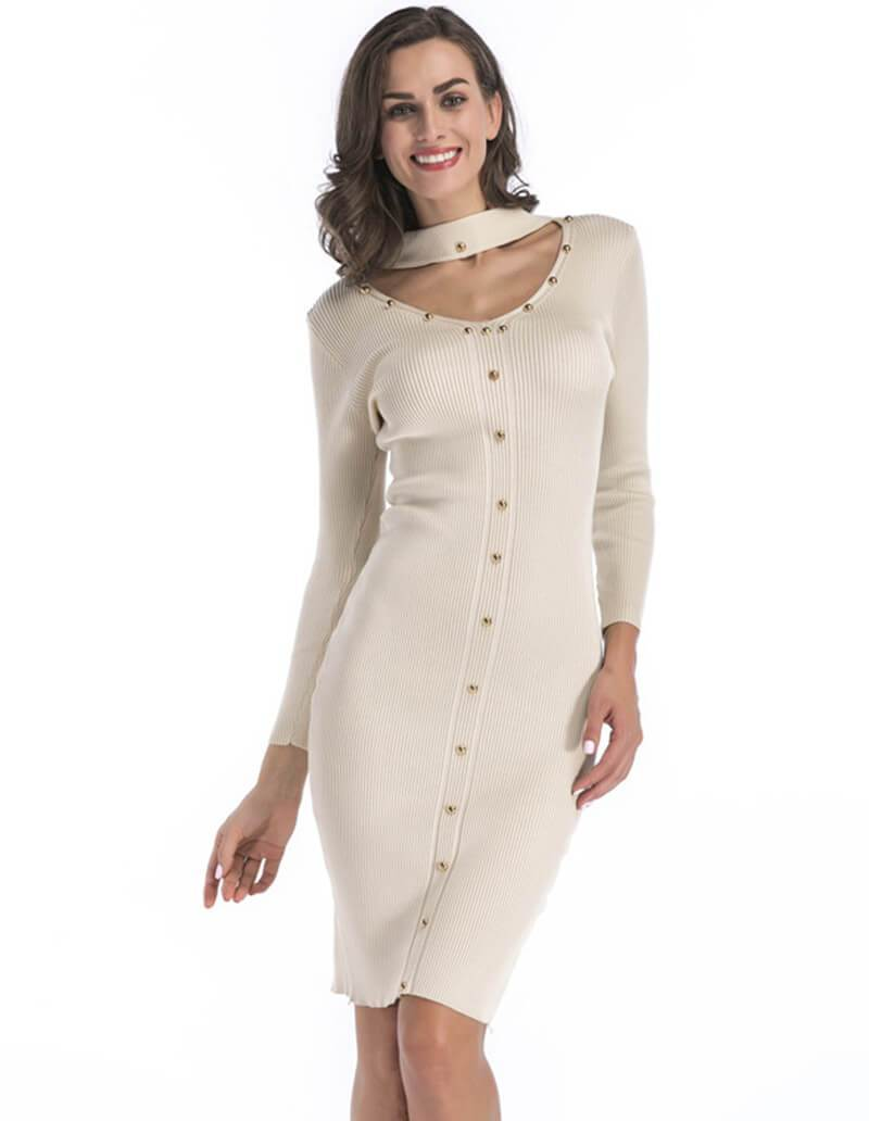 731e8b937cae2 Studded Button V Neck Long Sleeve Solid Color Sweater Knit Midi Dress