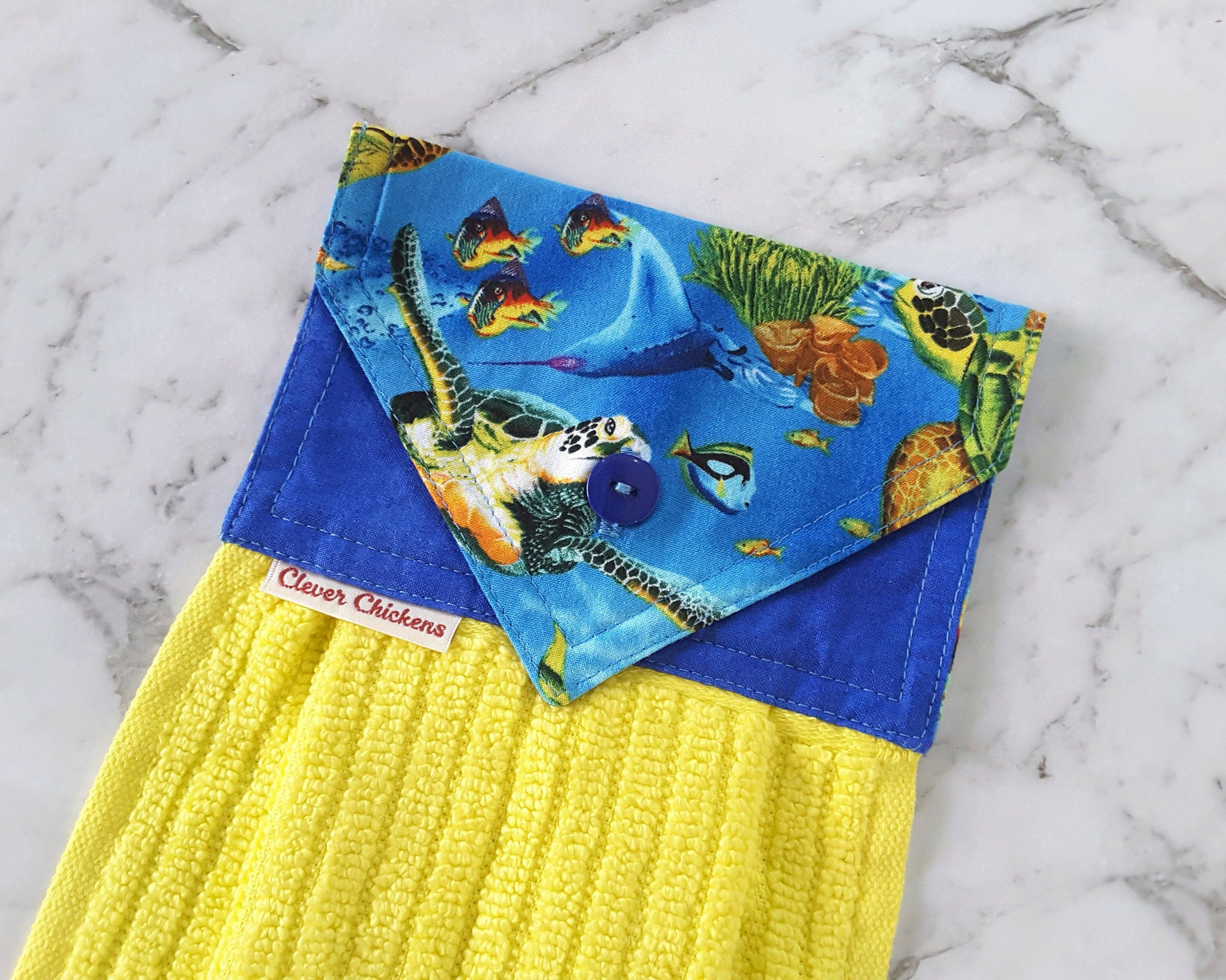 Turtle Hanging Hand Towel Yellow And Blue Ocean Home Decor