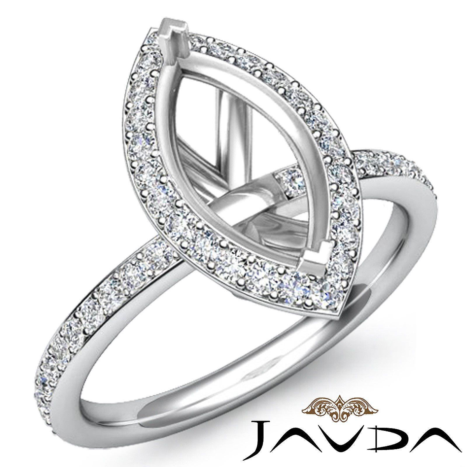 Diamond Engagement Marquise Shape Proposed Halo Ring Platinum 950 Semi Mount 1ct | eBay