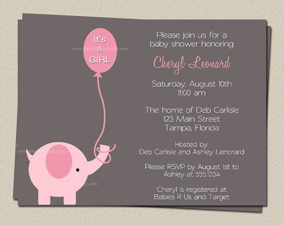 Baby Showers Invitaciones ~ Baby shower invitations girls elephants sprinkle pink gray