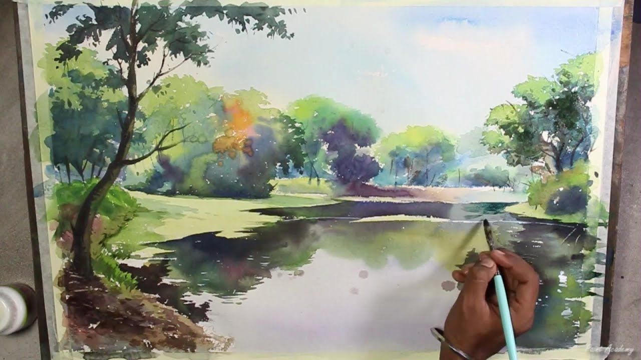 Watercolor Landscape Painting Speed Art Video With Images