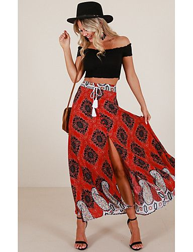 a3edebd780 Women's Holiday Boho / Street chic Maxi Swing Skirts - Floral Peplum High  Waist