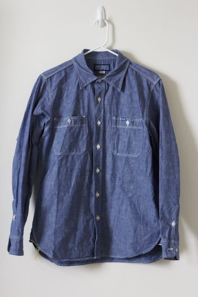 Iron Heart IHSH-21-ind Indigo Heavy Selvedge 10oz Shirt Sz. L $260 Work Denim #IronHeart #ButtonFront