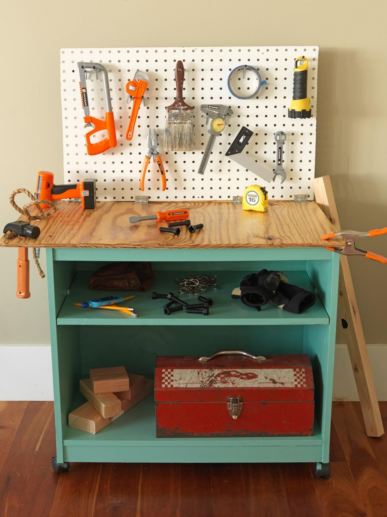 How to Turn Old Furniture Into a Kids Toy Workbench