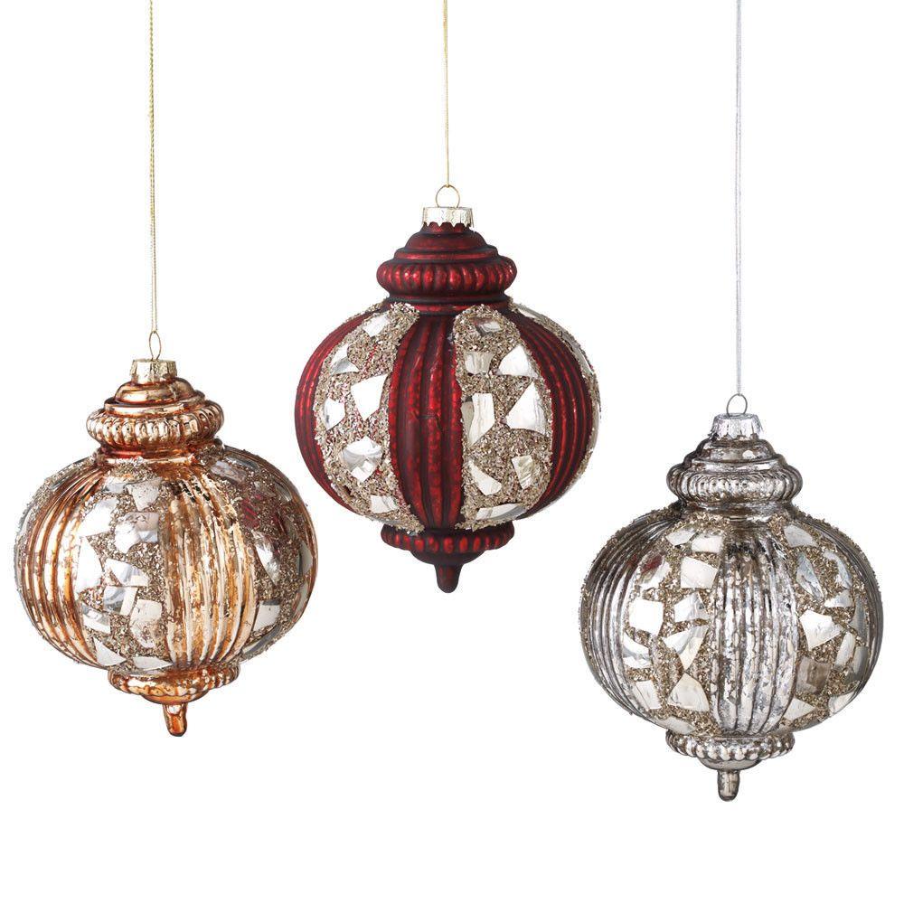 LARGE MOSAIC DROP Christmas Ornaments , 3 vintage-style NEW Casa Cristina