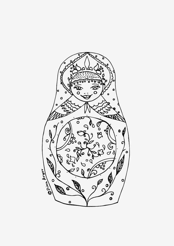 Printable coloring page PDF Matryoshka illustration by DachaStudio ...