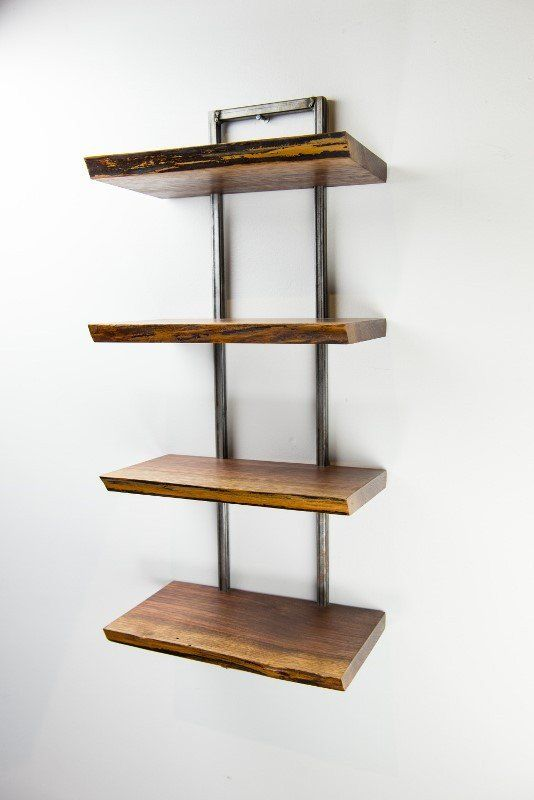 A Perfect Addition To Any Room This Beautiful Live Edge Black Walnut Shelf Is 4 Tier With Welded Metal Frame Each Maintains The And