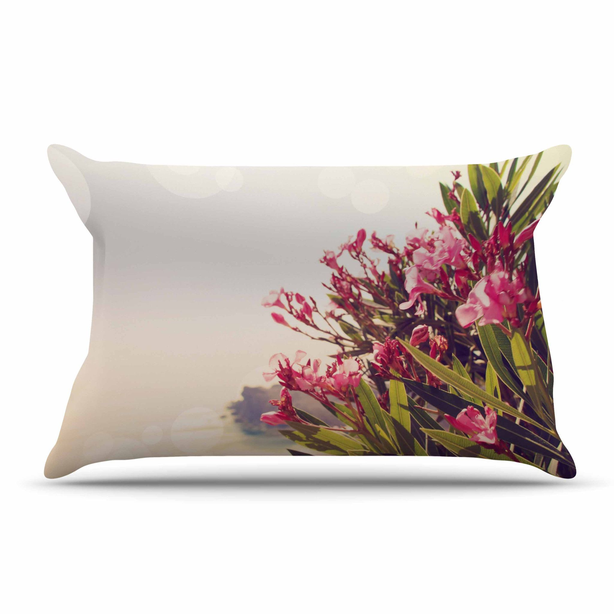 """Sylvia Coomes """"Flowers In Paradise"""" Green Pink Pillow Case"""