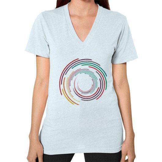 Vintage Circle Rainbow V-Neck (on woman)