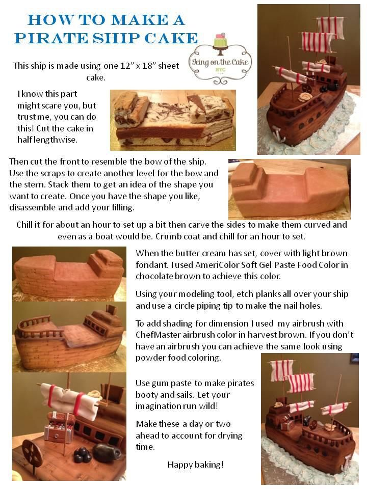 Pirate Ship Cake - I could probably make a more amateur looking version of this :) You could use chocolate fingers for the railings ad malteasers for cannon balls!