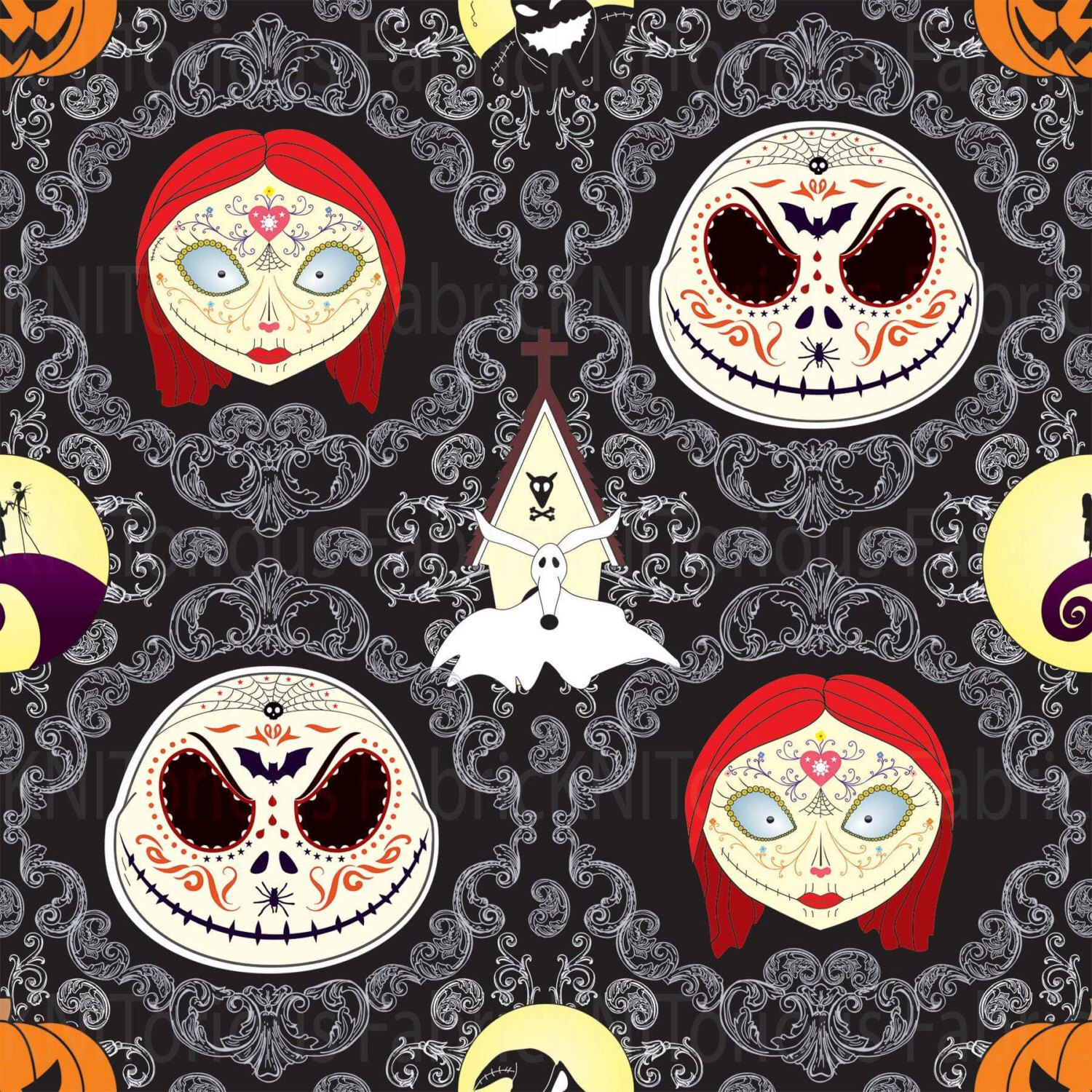 Nightmare before christmas fabric jack skellington fabric sally nightmare before christmas fabric jack skellington fabric sally zero oggie boogie man lycra nmbc halloween fabric tim burton by latourfabric on publicscrutiny Images
