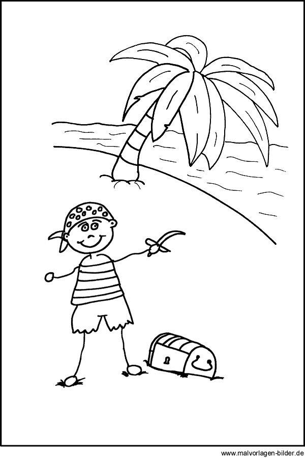 Malvorlage von einem Pirat mit seinem Schatz Dinosaurier