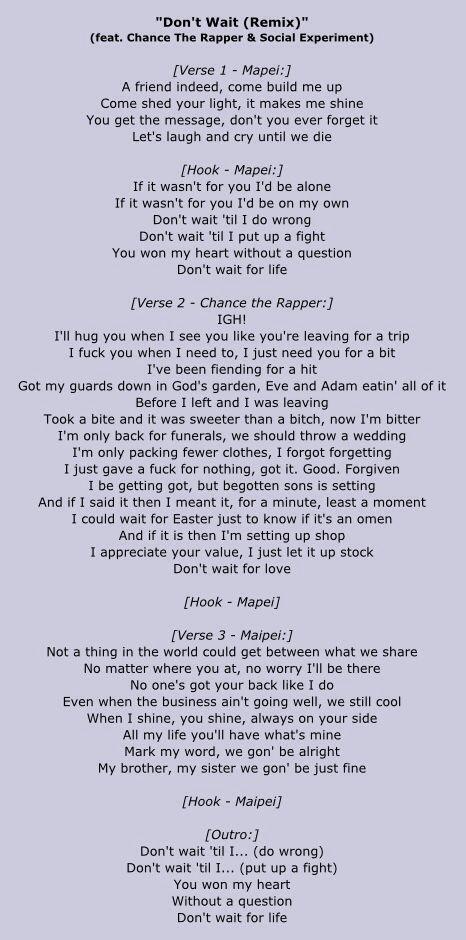 mapei chance the rapper don u0027t wait remix lyrics love pinterest