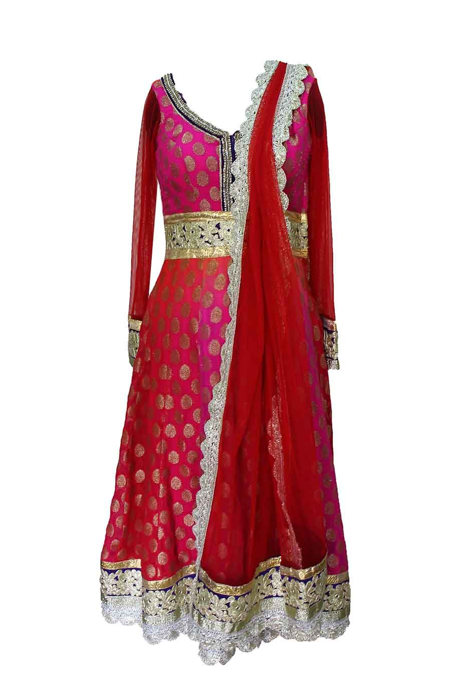 Red Pink Anarkali — Het Sanghavi