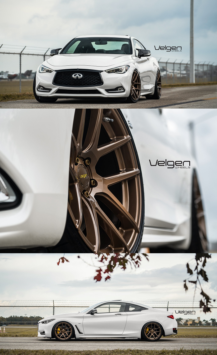 White Infiniti Q60 With Blacked Out Mesh Grille With Red