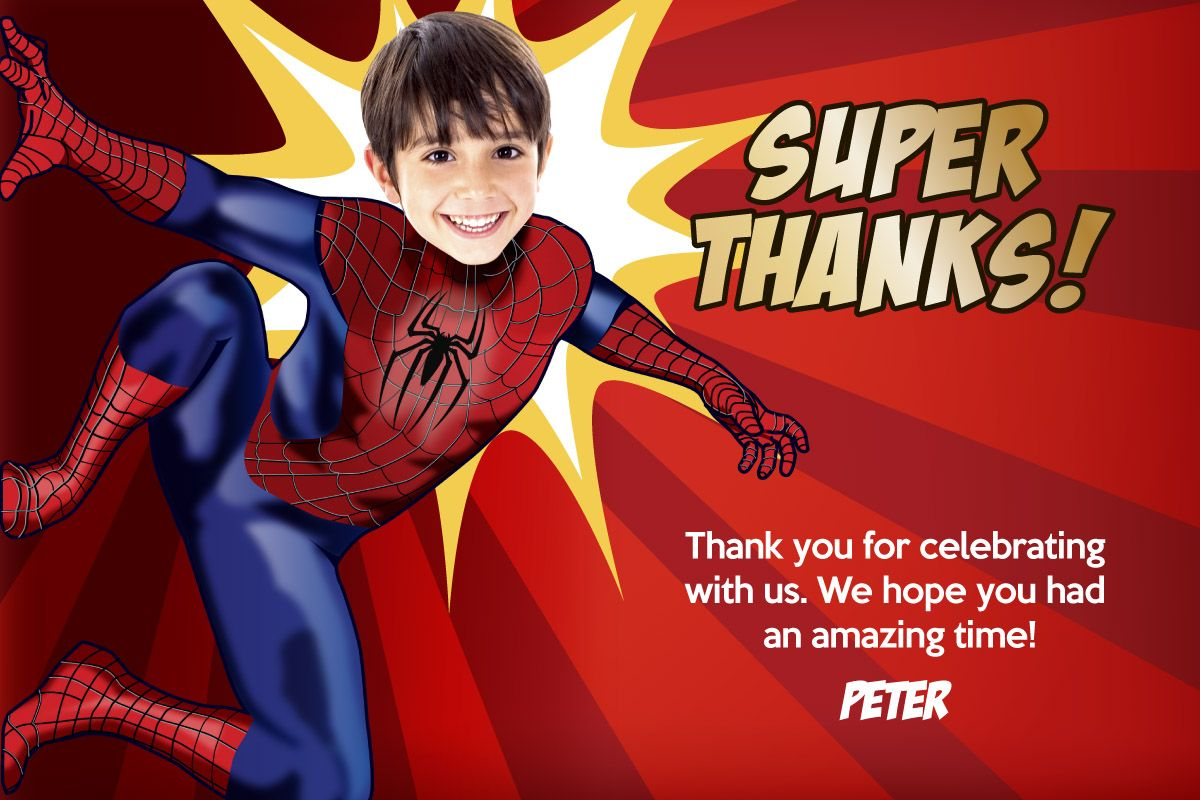 Spiderman Birthday Thank You Card Spiderman Invitation Spiderman